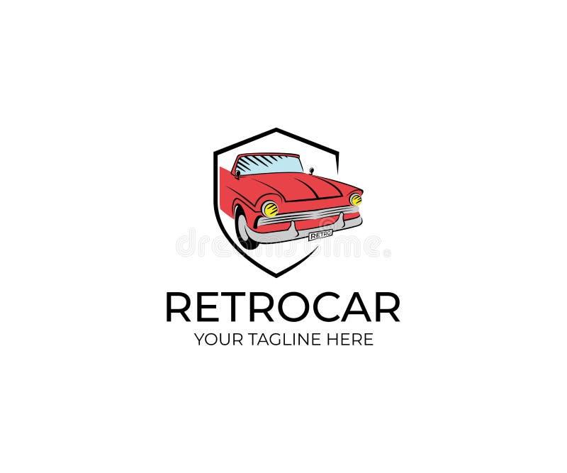 Retro automobile Logo Template Progettazione di vettore del trasporto illustrazione vettoriale