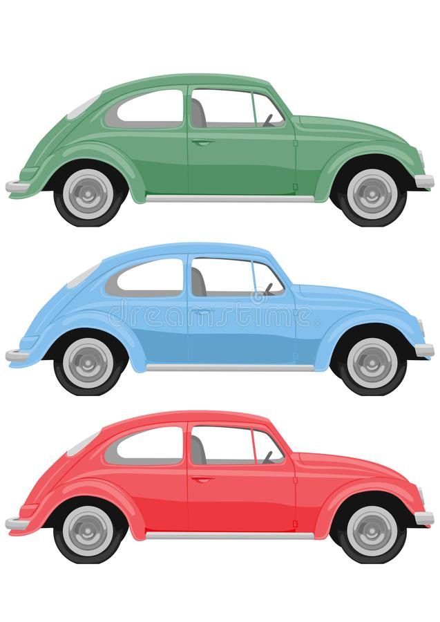 Retro automobili multicolori su fondo bianco Automobile d'annata in uno stile realistico, vista laterale royalty illustrazione gratis