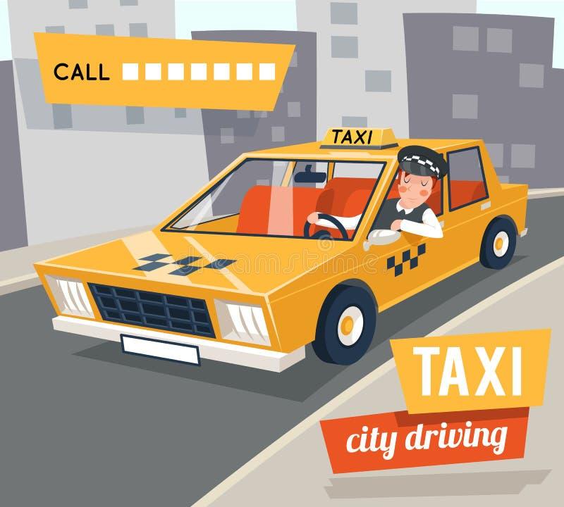 Retro- Autostadt der Fahrerhaustaxifahrer-Karikatur, die Straße backgorund Vektorillustration fährt lizenzfreie abbildung