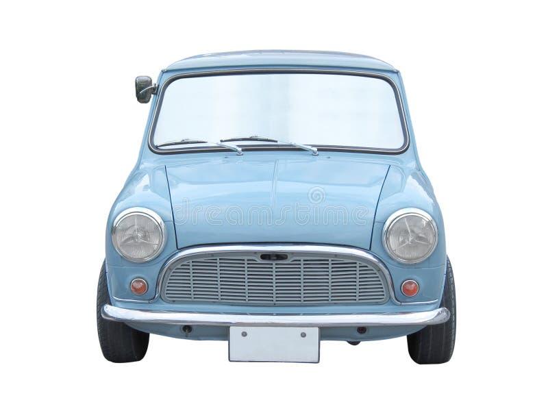 Retro błękitny mini wielkościowy samochód odizolowywający na bielu fotografia stock