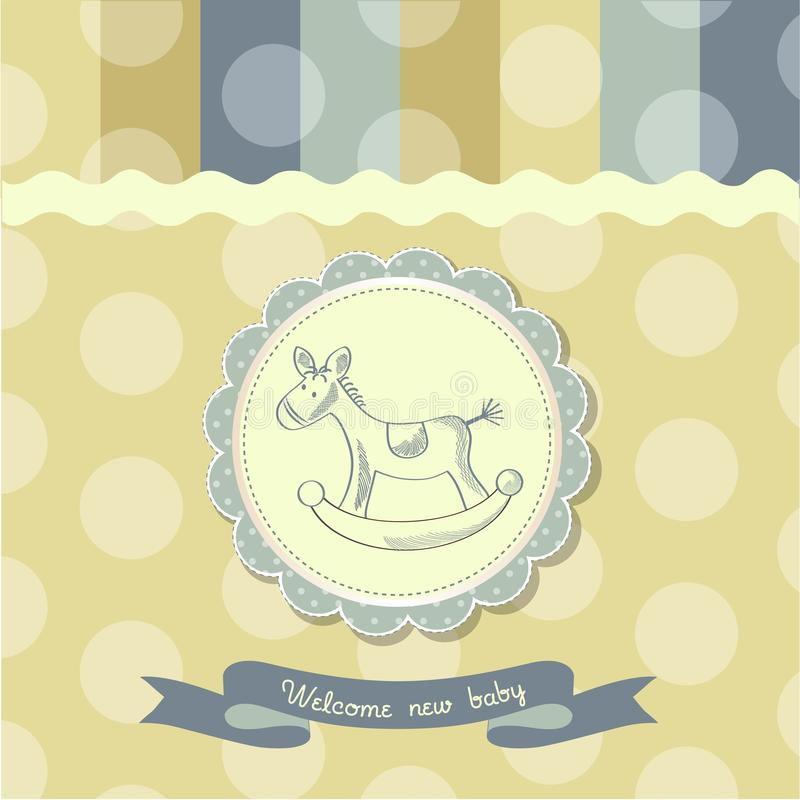 Retro baby shower card with rocking horse. Vector illustration stock illustration