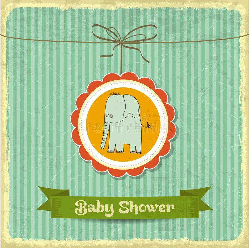 Free Retro Baby Shower Card With Little Elephant Royalty Free Stock Photography - 45152407