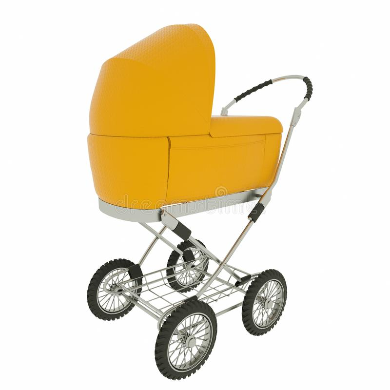 Retro baby stroller isolated on white background. 3d rendering.  royalty free stock image