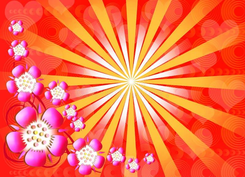 Retro background. Colourful flower retro style background vector illustration