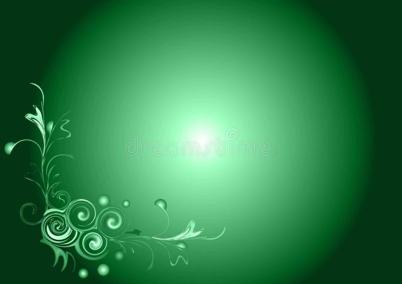Retro background. Dark green retro background with floral illustration stock illustration