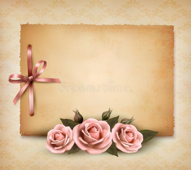 Retro background with beautiful pink rose stock illustration