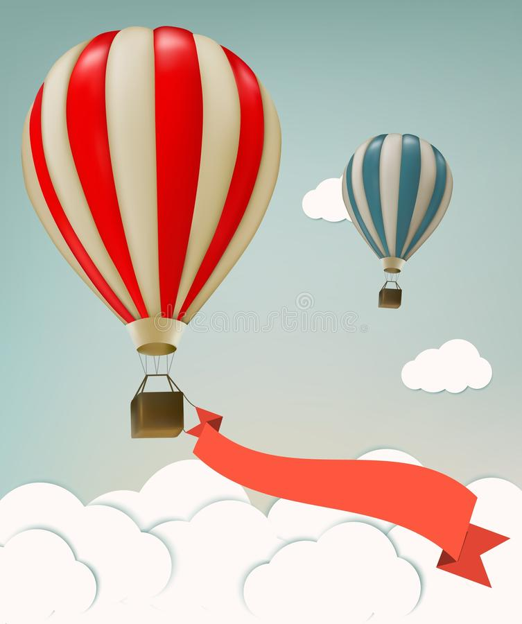 Retro background with colorful air balloons and clouds. stock illustration