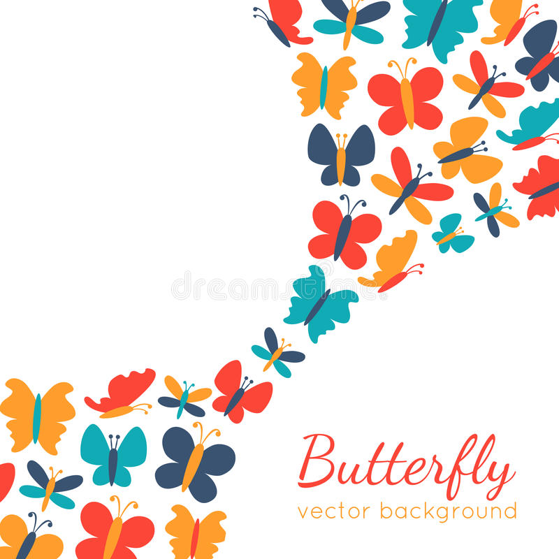 Retro background of colorful butterfly silhouettes royalty free illustration