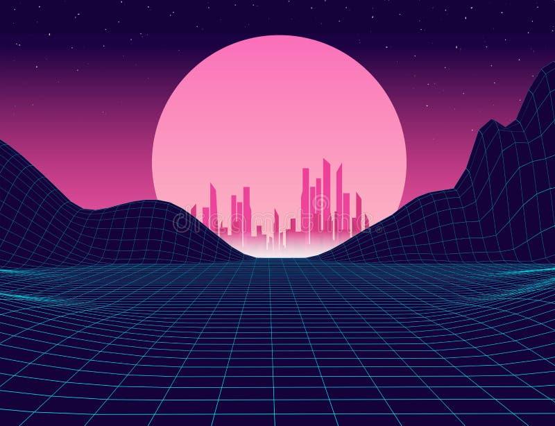 Retro background futuristic landscape vector illustration