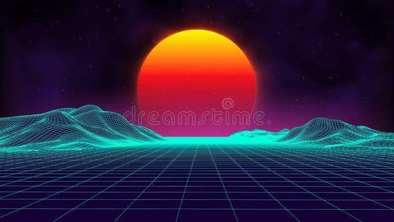 Retro background futuristic landscape 1980s style. Digital retro landscape cyber surface. Retro music album cover stock illustration