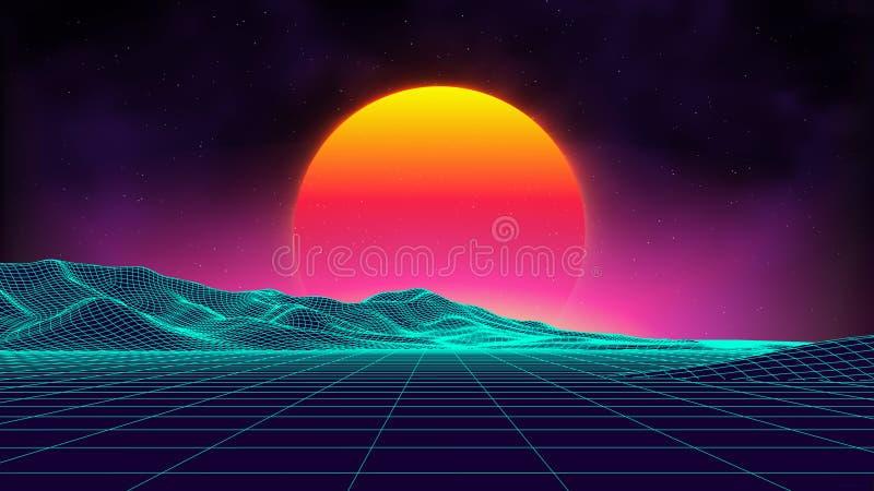 Retro background futuristic landscape 1980s style. Digital retro landscape cyber surface. Retro music album cover royalty free illustration