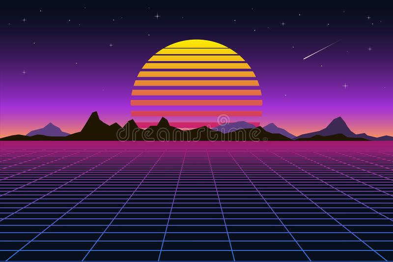 Retro background futuristic landscape 1980s style. Digital retro landscape cyber surface. Retro music album cover royalty free illustration