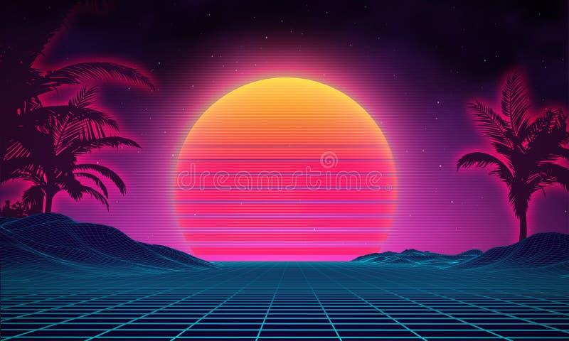 Retro background futuristic landscape 1980s style. Digital retro landscape cyber surface. 80s party background . Retro. 80s fashion Sci-Fi Background Summer stock illustration