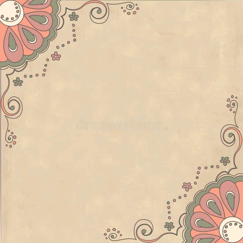 Retro background with ornamental pattern stock illustration