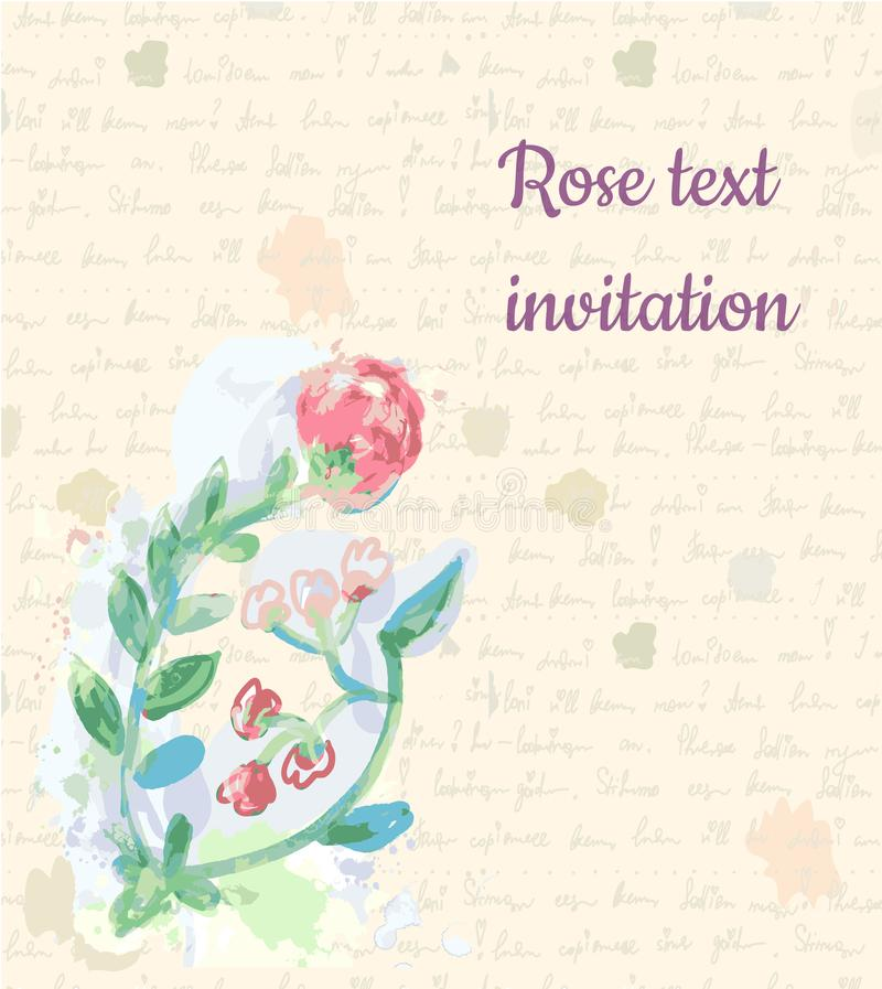 Retro background with rose and handwriting paper texture for the invitation, graphic illustration stock illustration