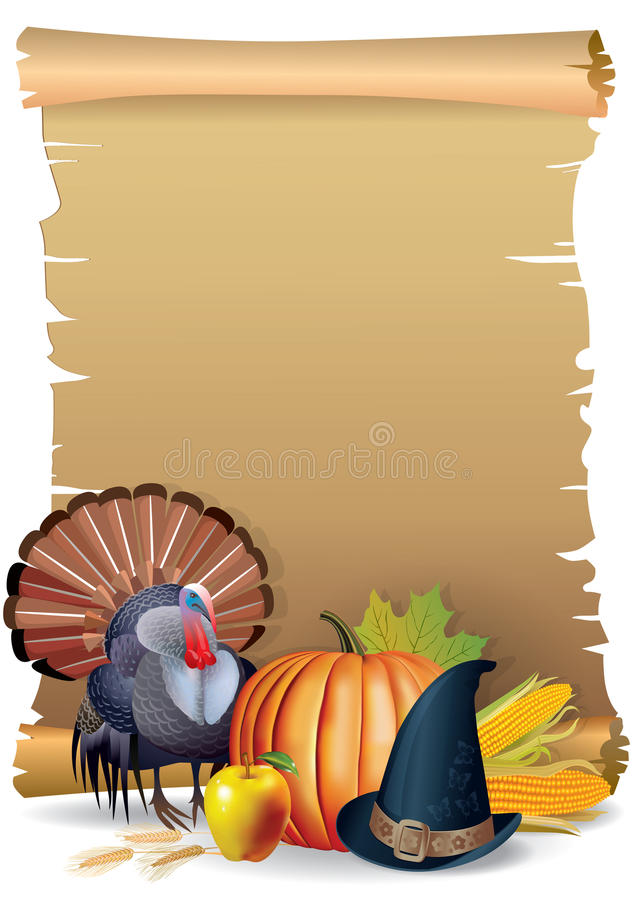 Retro background Thanksgiving turkey. Pumpkin hat. It contains transparent objects.EPS 10
