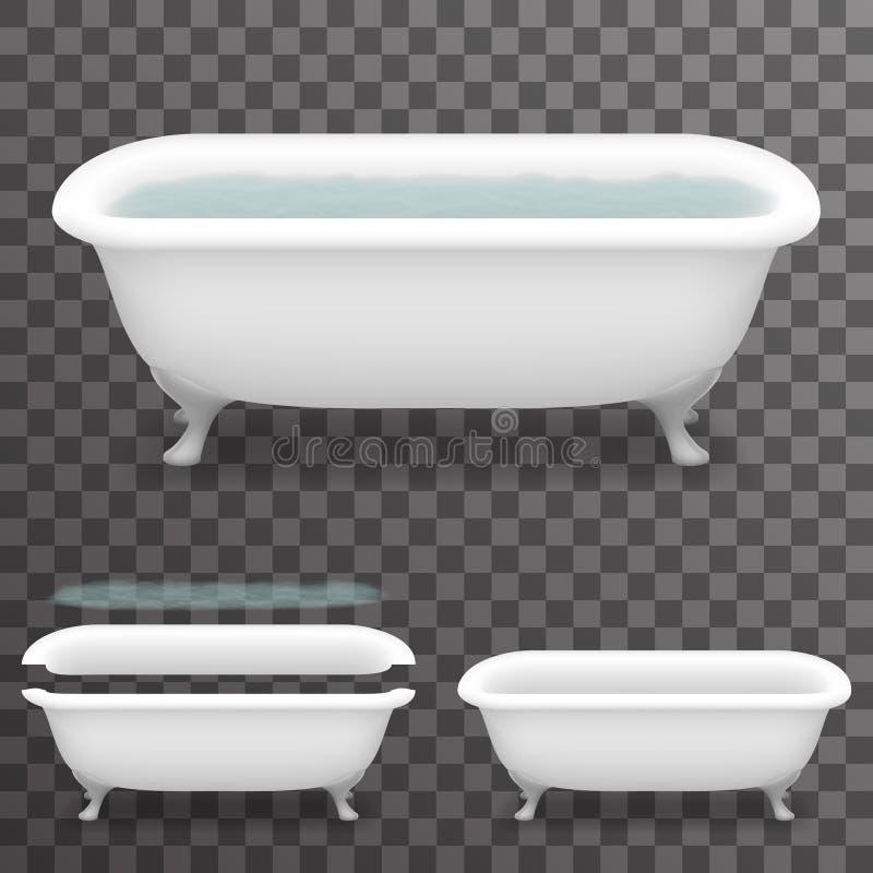 Retro- Bad mit Badewannen-transparenter Schablonen-Hintergrund-Spott-hoher Design-Vektor-Illustration der Wasser-realistischer Pa vektor abbildung