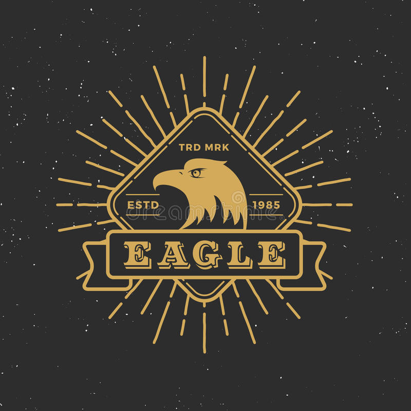 Retro badge logo eagle design with retro sunburst vector illustration