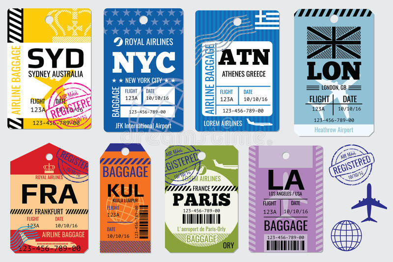 Retro baggage tags and travel vector stock royalty free illustration