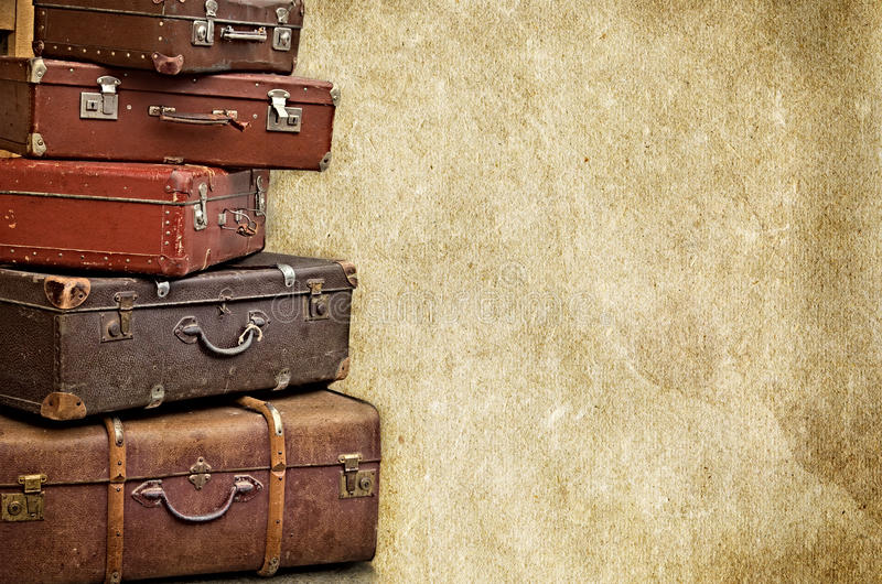 Retro bags on the old vintage textured paper background. Collection royalty free stock images
