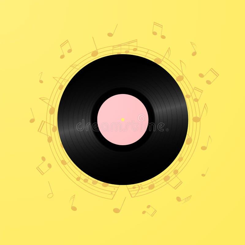 Retro bakgrund för kort för vinylrekord Illustration för tappning80-talmusik stock illustrationer