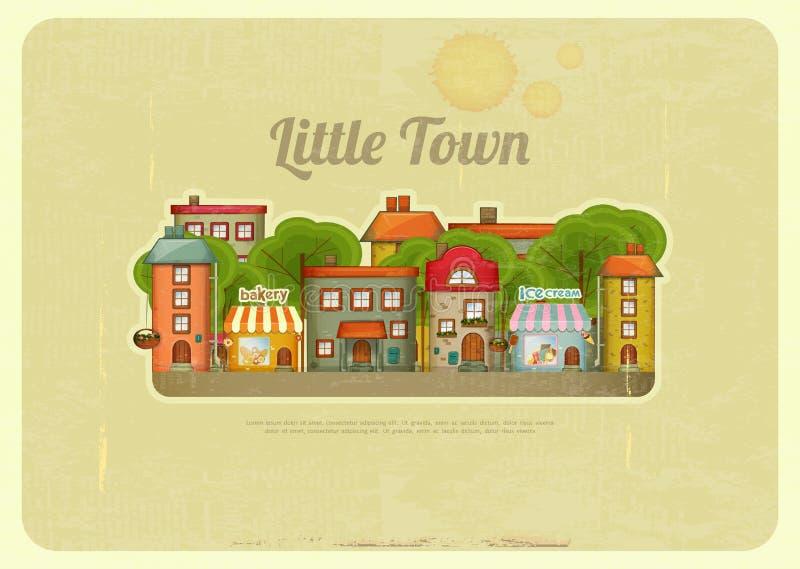 Retro bakgrund för liten stad vektor illustrationer