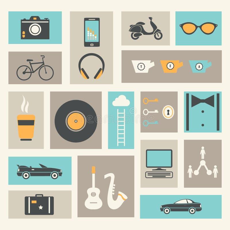 Retro bakgrund för livsstil och för aktiviteter vektor illustrationer