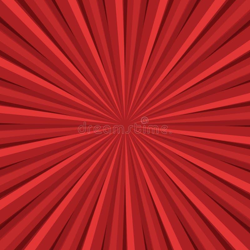 Retro bakgrund för röda strålar vektor illustrationer