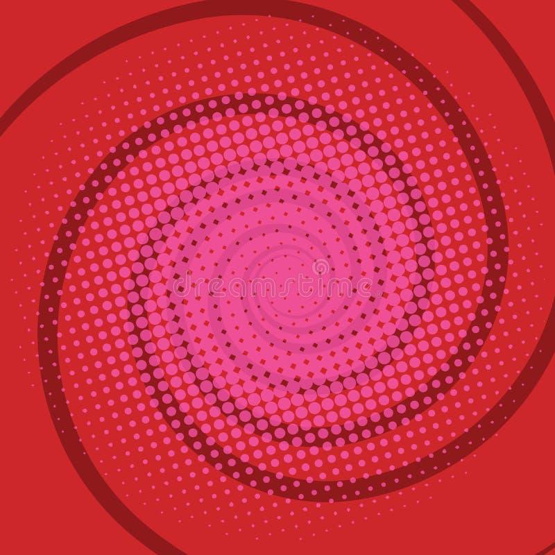 Retro bakgrund för spirala röda komiker stock illustrationer