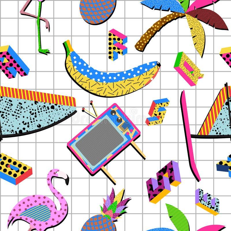 Retro bakgrund för 80-talsommarmodell vektor illustrationer