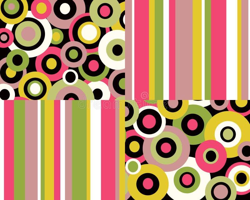 Retro bande e collage dei cerchi illustrazione vettoriale