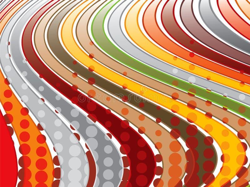 Retro bande ondulate marroni illustrazione vettoriale