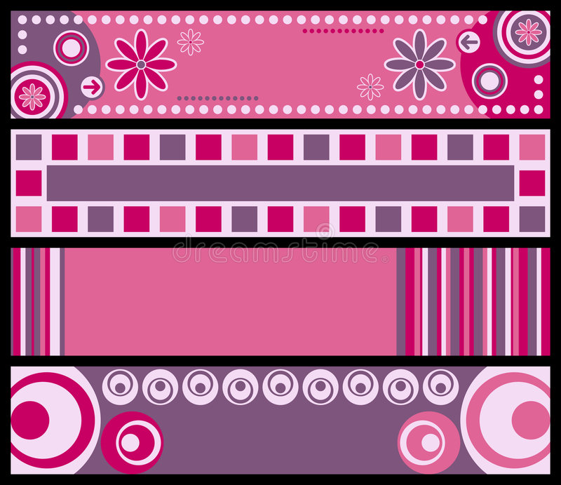 Retro bandiere [colore rosa] royalty illustrazione gratis