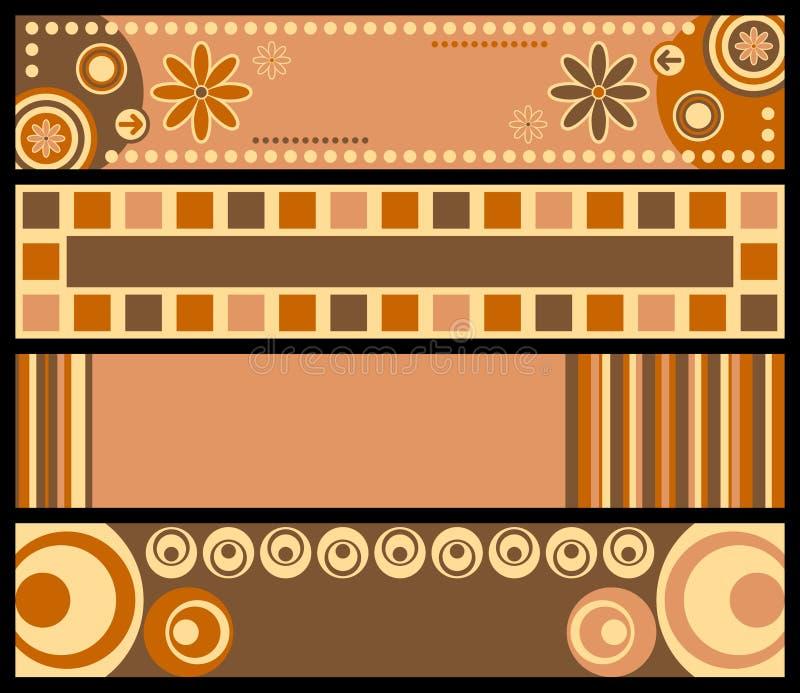 Retro bandiere [colori caldi] illustrazione di stock