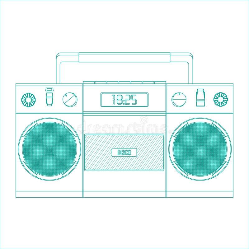 Retro bandspelare för ljudkassetter stock illustrationer