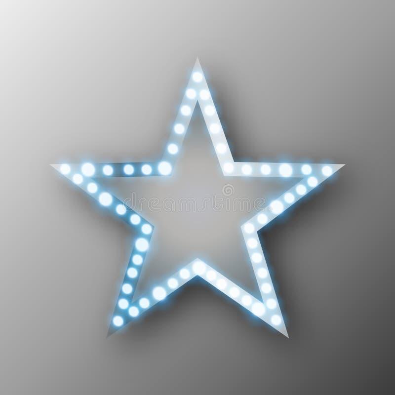 Retro baner för stjärna med ljus royaltyfri illustrationer