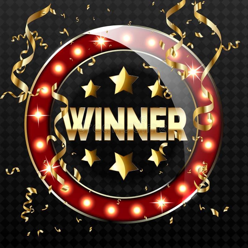 Retro baner f?r stor seger med gl?dande lampor Vektorillustration f?r vinnare av poker, kort, rouletten och lotterit royaltyfri illustrationer