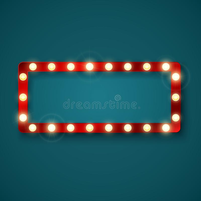 Retro banertecken med den röda ramen och glödande kulor Färgrik tappningannonseringaffischtavla med utrymme för text vektor royaltyfri illustrationer