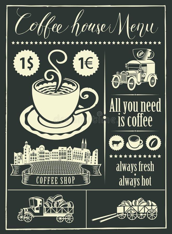 Retro banner met een kop koffie en uitstekende auto's royalty-vrije illustratie