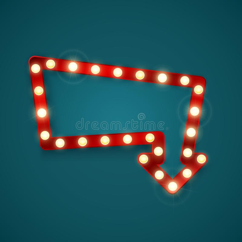 Retro banner met het glanzen lichten Uitstekend aanplakbord of helder uithangbord Het glanzende teken van de pijlbanner Vector il vector illustratie