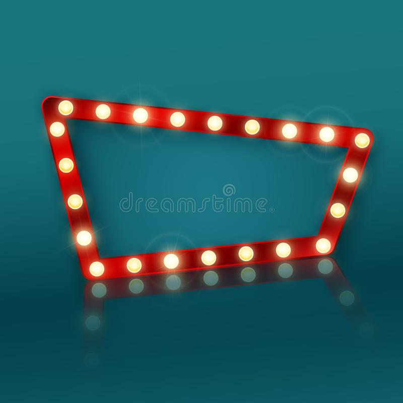 Retro banner sign with reflection. Signboard in a motel or casino advertising. Vector illustration.  vector illustration