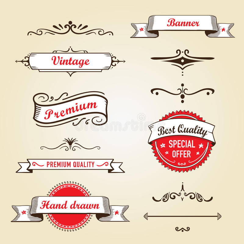 Set of retro banners and labels stock photos