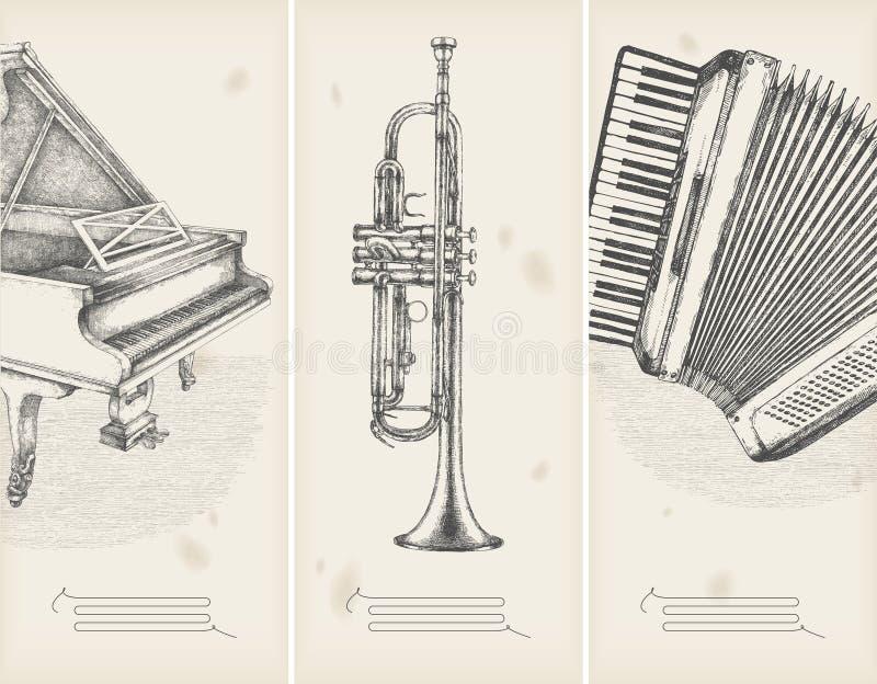 Retro banners- piano, trumpet, accor. Retro banners- music theme - piano, trumpet, accordion stock illustration