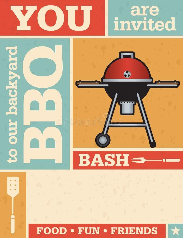 Retro Barbecueuitnodiging royalty-vrije illustratie