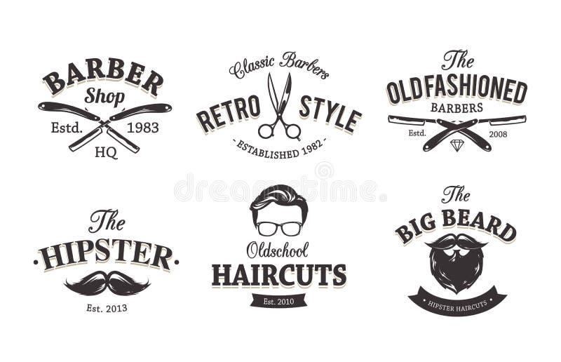 Retro Barber Emblems royalty-vrije illustratie