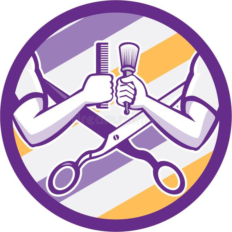 Retro Barber Hand Comb Brush Scissors cirkel royaltyfri illustrationer