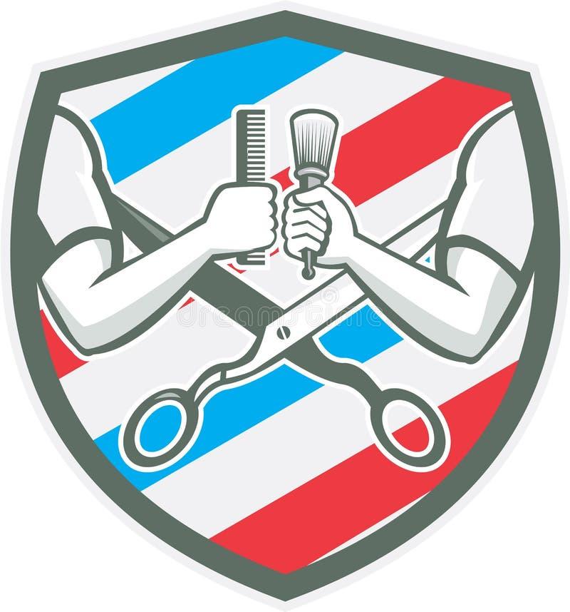 Retro Barber Hand Comb Brush Scissors sköld royaltyfri illustrationer