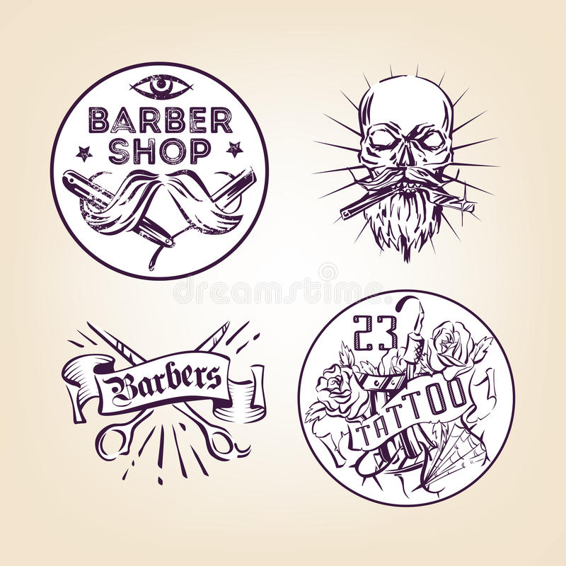 Retro barbers and tattoo salon emblems, badges, signs, stickers layout. Old school style ink illustrations vector illustration