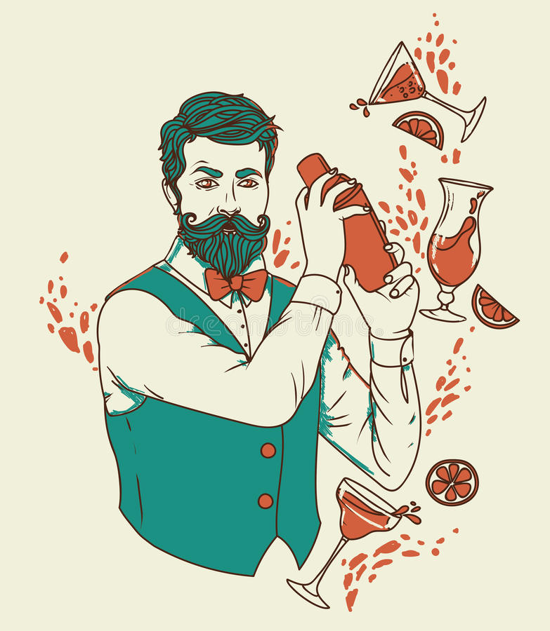 Retro barista che fa i cocktail illustrazione vettoriale