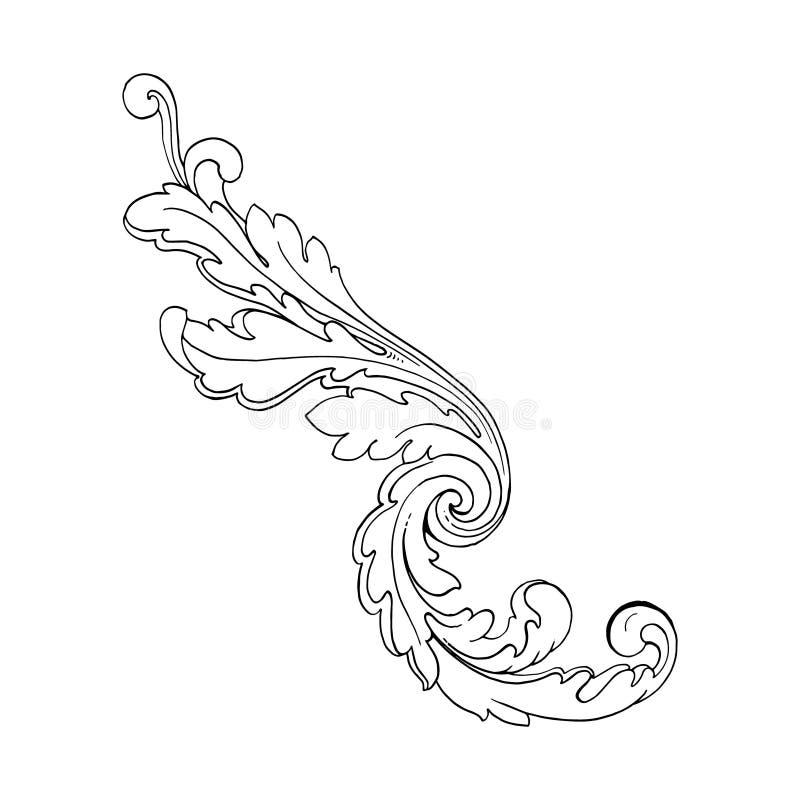 Retro barock garneringbeståndsdel stock illustrationer